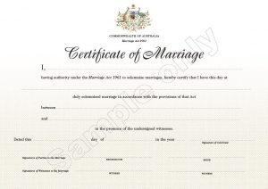 Image of Wedding certificate example